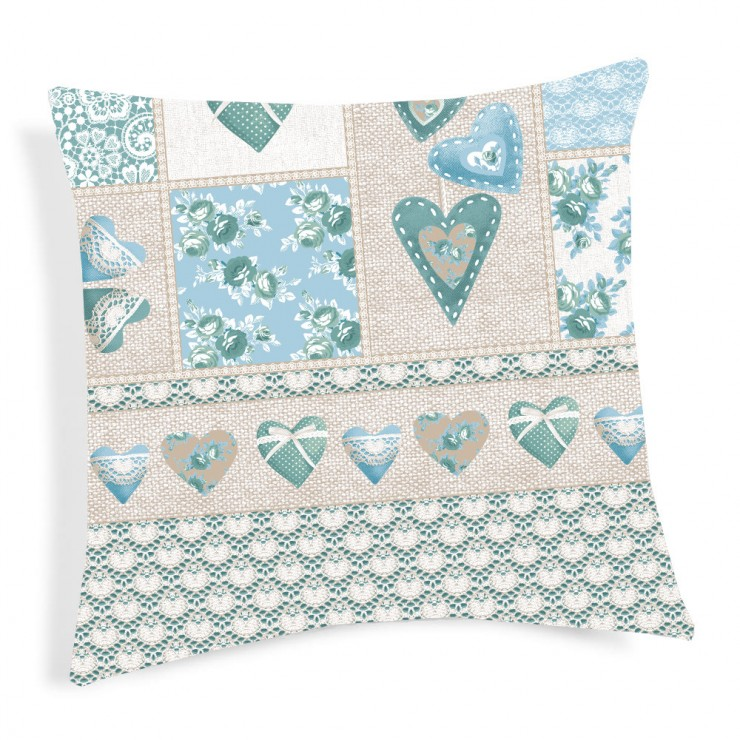 Pillowcase Patchwork Primavera turquoise 40x40 cm