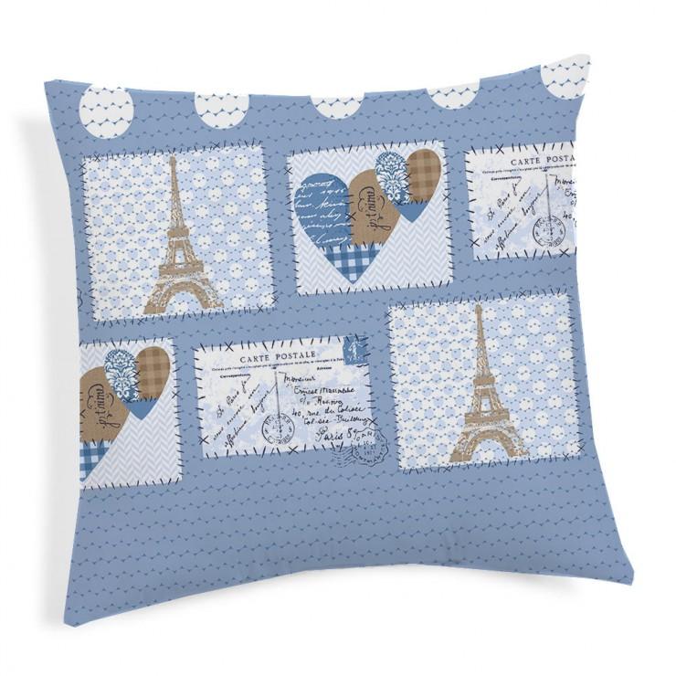 Obliečka na vankúš Paríž modrá 40x40 cm