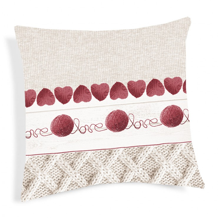 Pillowcase Ball of wool red 40x40 cm