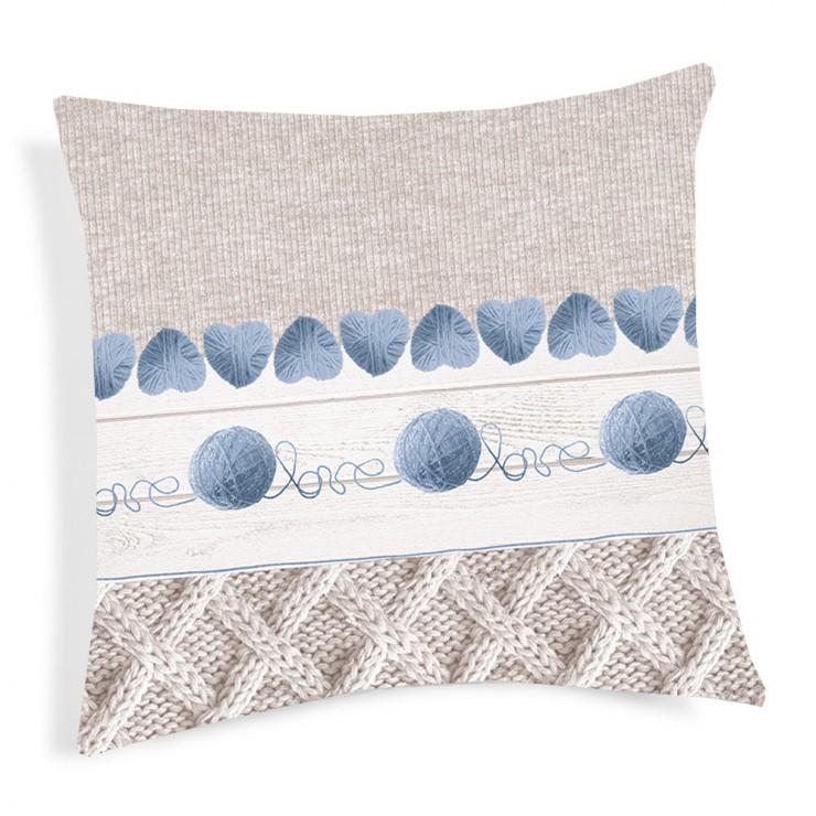 Kissenbezug Wollknäuel blau 40x40 cm