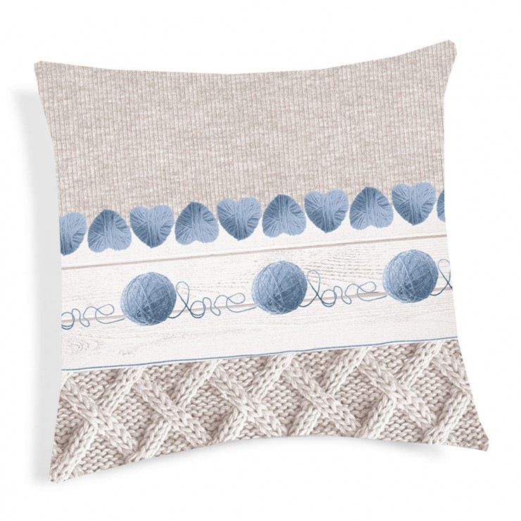 Pillowcase Ball of wool blue 40x40 cm
