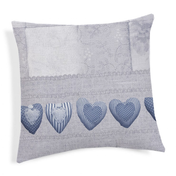 Kissenbezug Patchwork blau 40x40 cm
