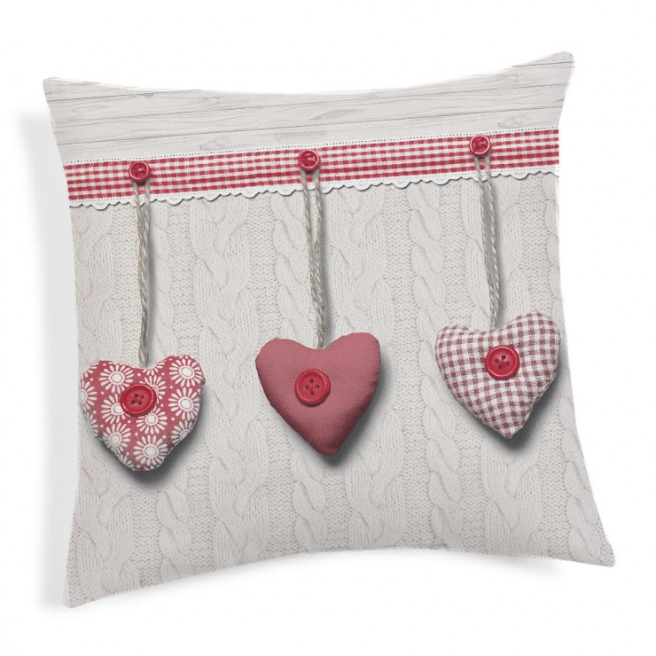 Pillowcase Hanging hearts red 40x40 cm
