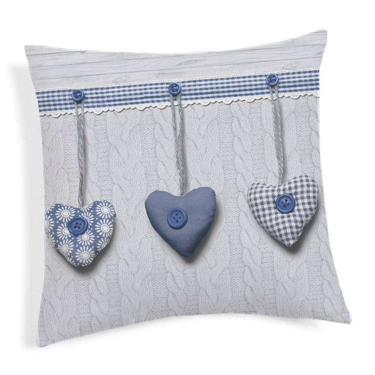Pillowcase Hanging hearts blue 40x40 cm