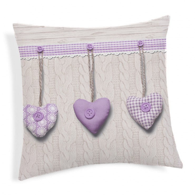 Pillowcase Hanging hearts violet 40x40 cm