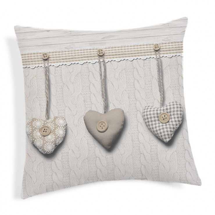 Pillowcase Hanging hearts beige 40x40 cm