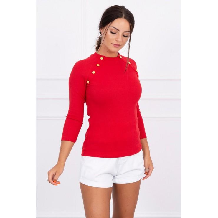 Tričko s ozdobnými knoflíky MI5197 rudé