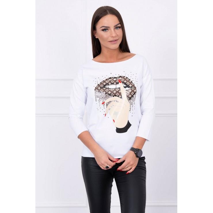 Tričko s farebnou potlačou MI64633 biele