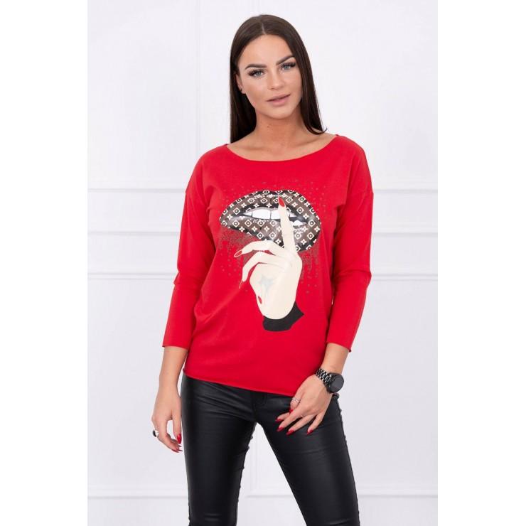 Tričko s farebnou potlačou MI64633 červené