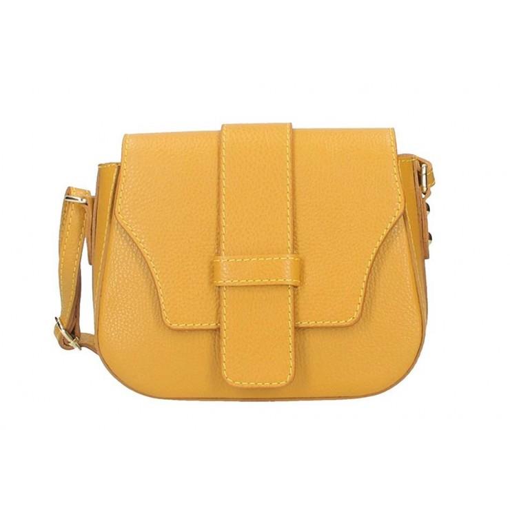 Okrová talianska kožená kabelka na rameno 870A