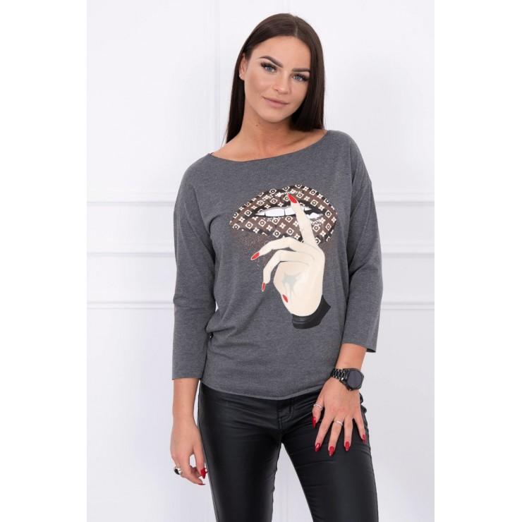 Tričko s farebnou potlačou MI64633 tmavošedé