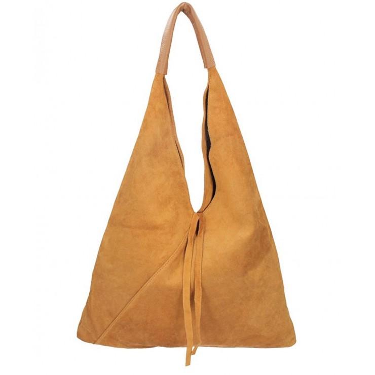 Koňaková kožená kabelka na rameno v úprave semiš 184