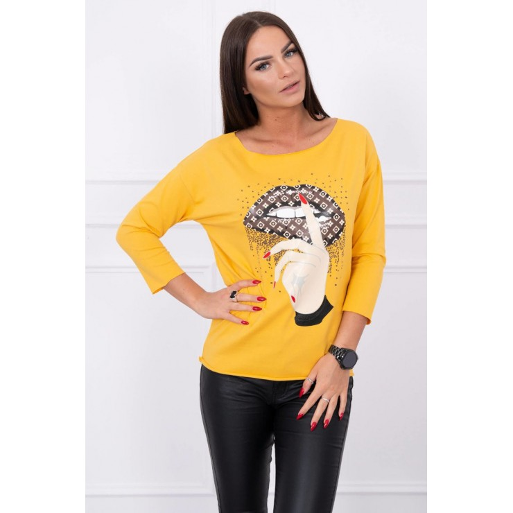 T-shirt with color print MI64633 mustard