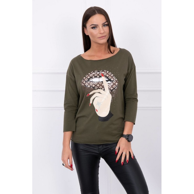 T-shirt with color print MI64633 dark green