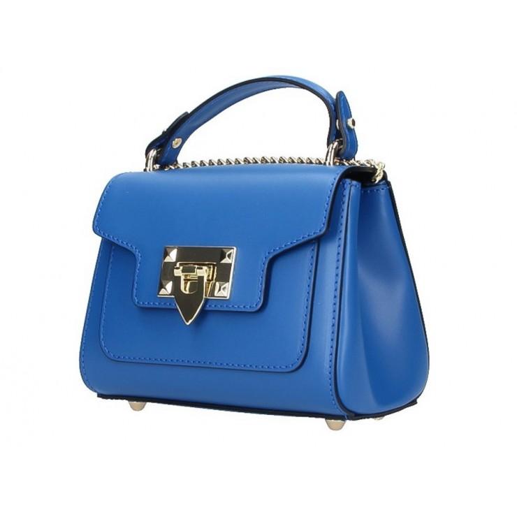 Talianska kožená kabelka na rameno 186 azurovo modrá