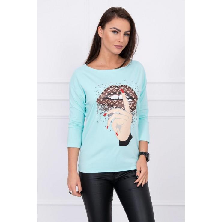 Tričko s farebnou potlačou MI64633 mätové
