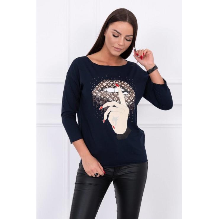 Tričko s farebnou potlačou MI64633 tmavomodré