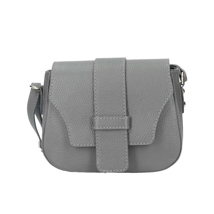 Tmavošedá talianska kožená kabelka na rameno 870A