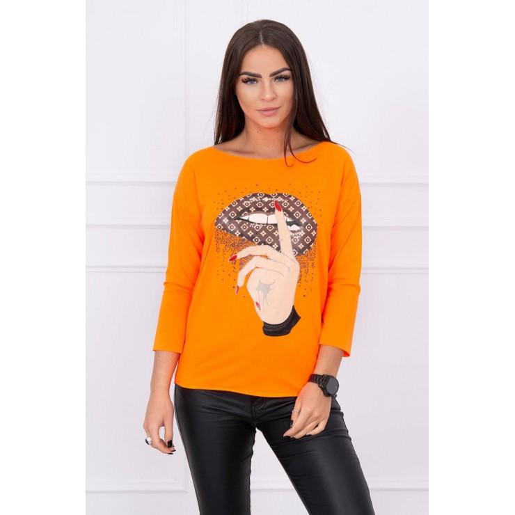 Tričko s farebnou potlačou MI64633 neónovo oranžové