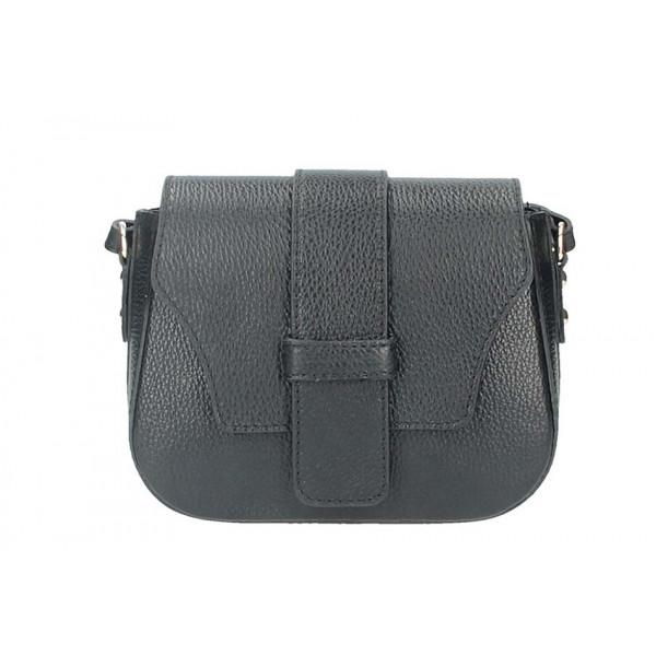 Čierna talianska kožená kabelka na rameno 870A