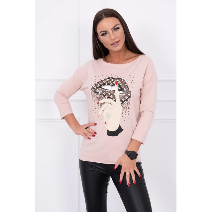 Tričko s farebnou potlačou MI64633 pudrovo ružové