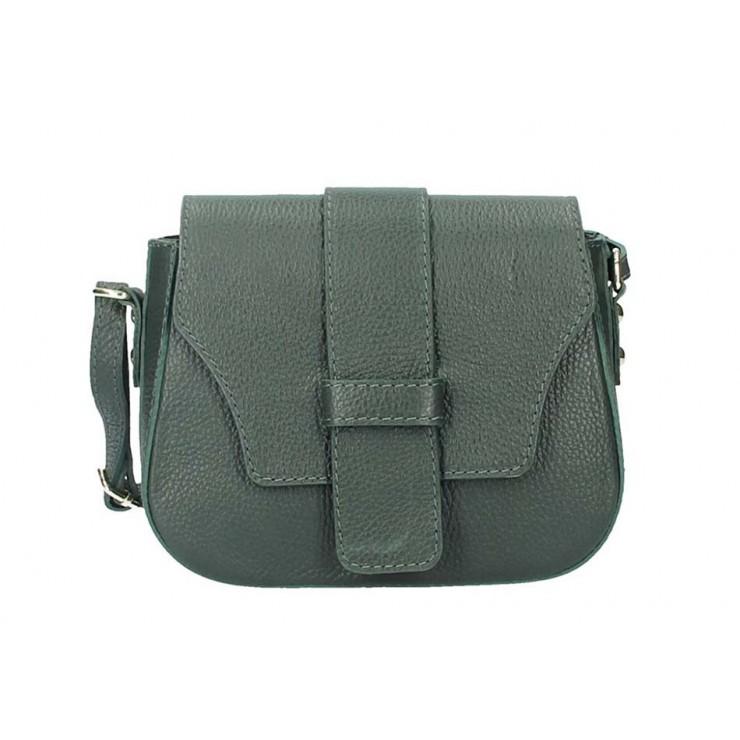 Tmavozelená talianska kožená kabelka na rameno 870A