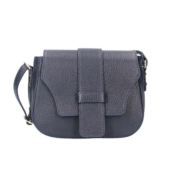 Tmavomodrá talianska kožená kabelka na rameno 870A