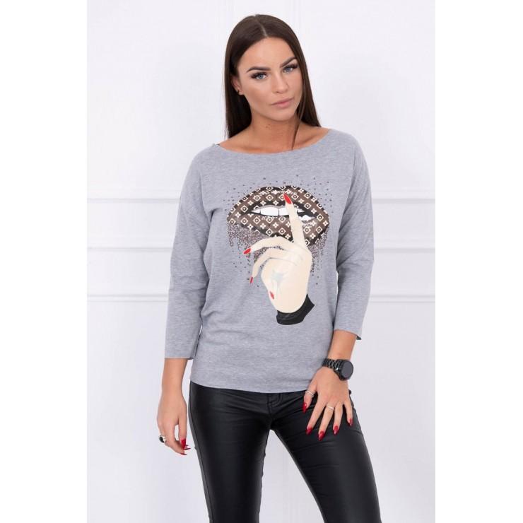 Tričko s farebnou potlačou MI64633 šedé