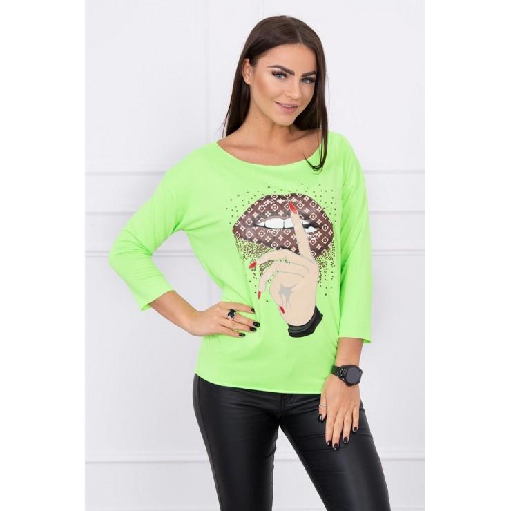 Tričko s barevným potiskem MI64633 neonově zelené