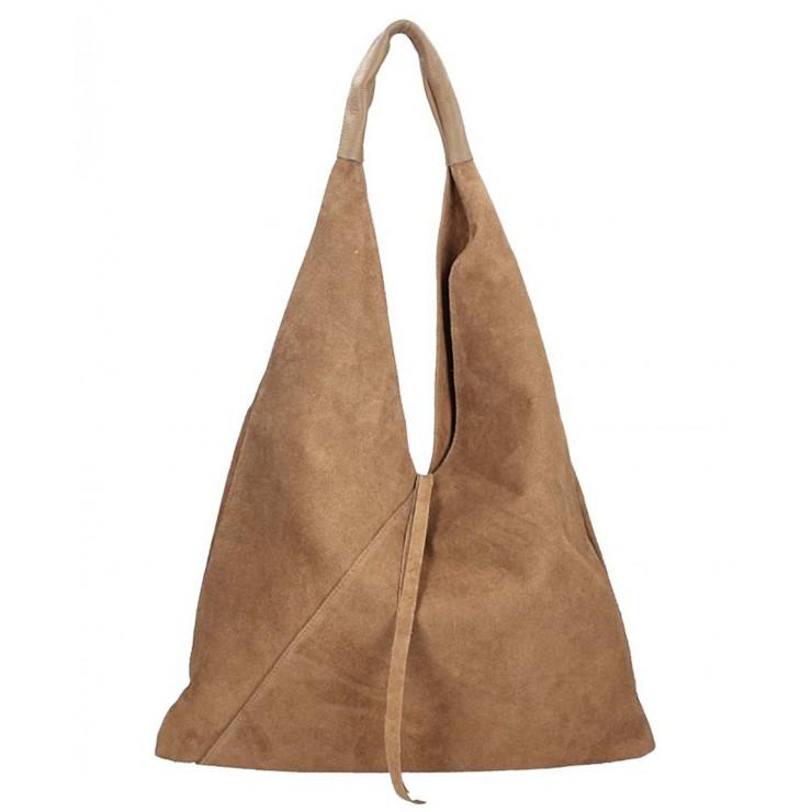 Tmavá šedohnedá kožená kabelka na rameno v úprave semiš 184