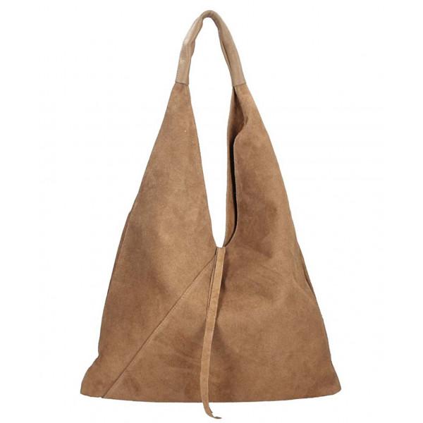 Tmavá šedohnedá kožená kabelka na rameno v úprave semiš 184 Šedohnedá