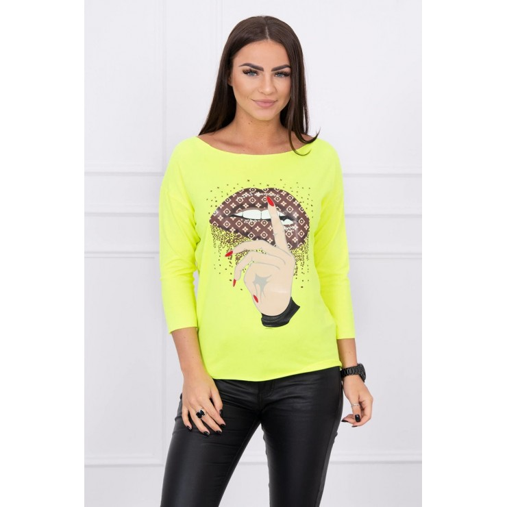 T-shirt with color print MI64633 yellow neon