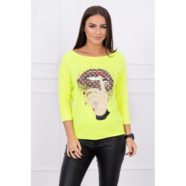 Tričko s farebnou potlačou MI64633 neónovo žlté