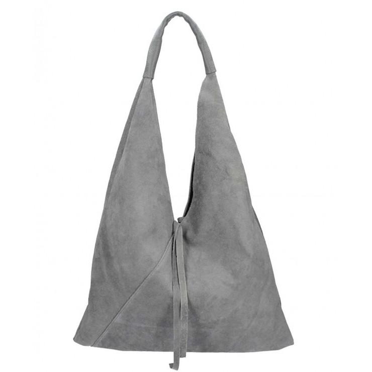 Tmavošedá kožená kabelka na rameno v úprave semiš 184