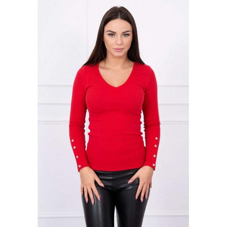 Tričko s ozdobnými gombíkmi na rukávoch MI5067 červené
