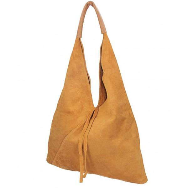 Tmavošedá kožená kabelka na rameno v úprave semiš 184 Šedá