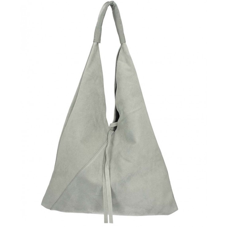 Šedá kožená kabelka na rameno v úprave semiš 184