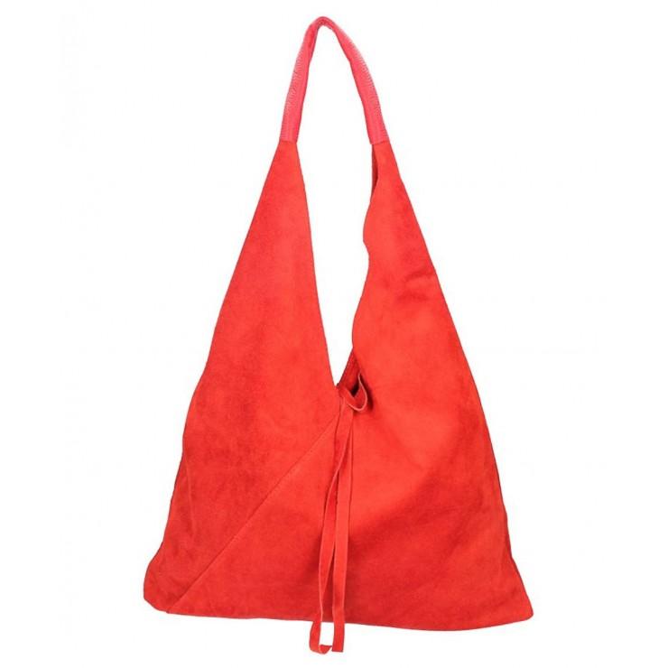 Červená kožená kabelka na rameno v úprave semiš 184