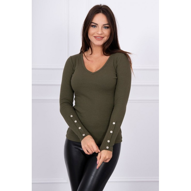 T-shirt with decorative buttons on the sleeves MI5067 green