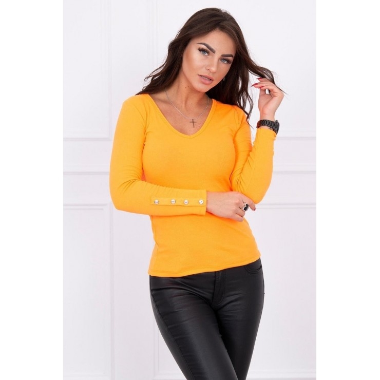 Tričko s ozdobnými knoflíky na rukávech MI5067 oranžové