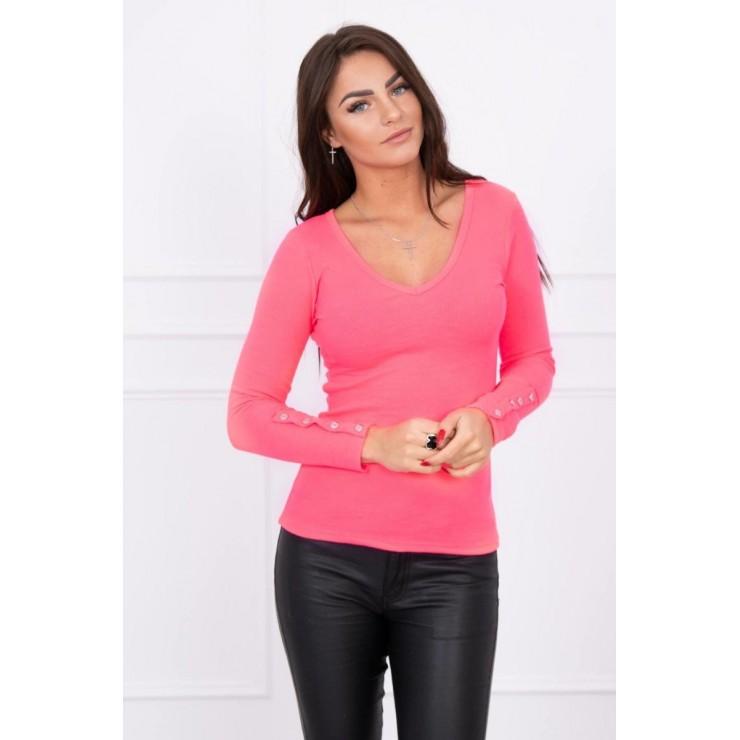 Tričko s ozdobnými gombíkmi na rukávoch MI5067 ružové