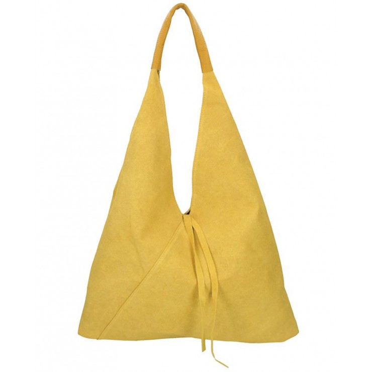 Genuine Leather Maxi Bag 184 mustard