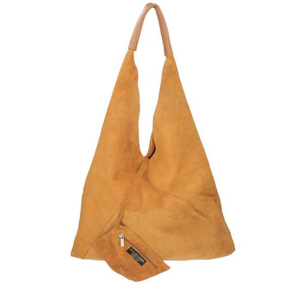 Okrová kožená kabelka na rameno v úprave semiš 184 Okrová