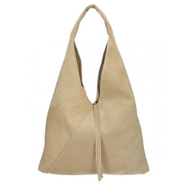 Genuine Leather Maxi Bag 184 taupe