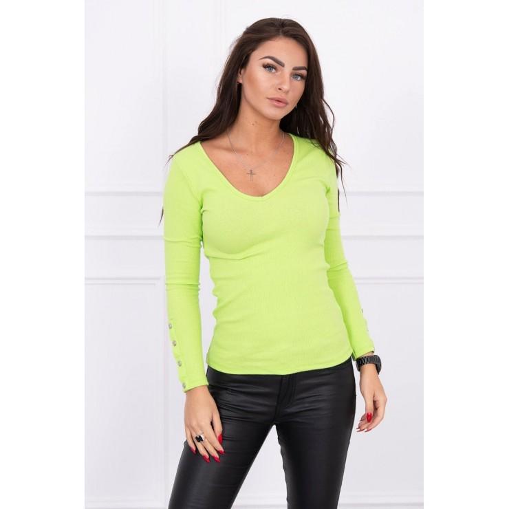 Tričko s ozdobnými gombíkmi na rukávoch MI5067 zelené