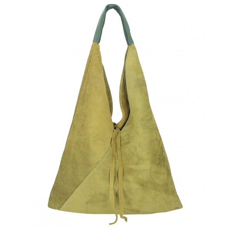 Vojenská zelená kožená kabelka na rameno v úprave semiš 184