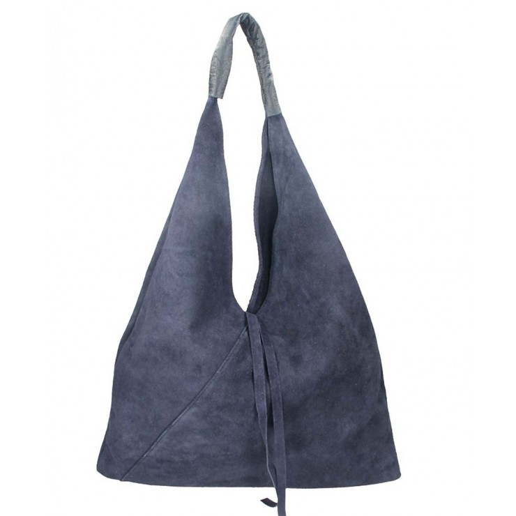 Genuine Leather Maxi Bag 184 dark blue