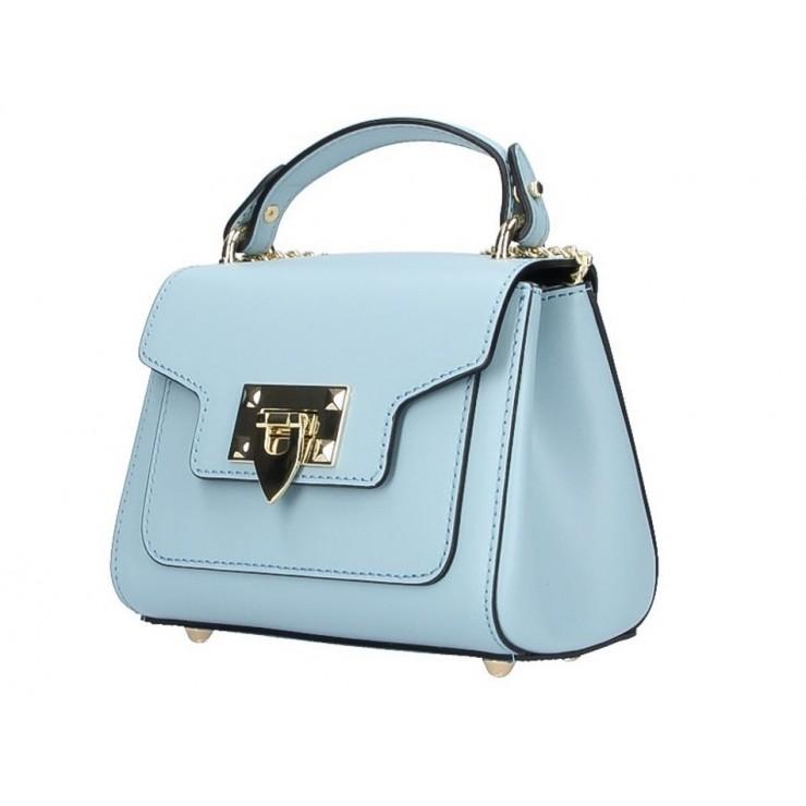 Talianska kožená kabelka na rameno 186 nebesky modrá