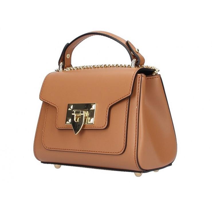 Italská kožená kabelka na rameno 186 koňak