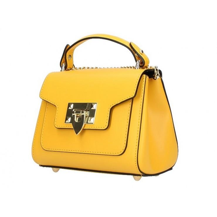 Talianska kožená kabelka na rameno 186 žltá